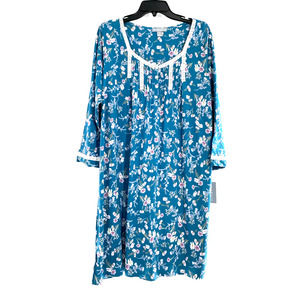 Miss Elaine Jersey Knit Nightgown- Teal Floral  XL